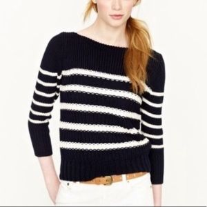 J.Crew Navy Blue White Striped Ripplestitch Knit M